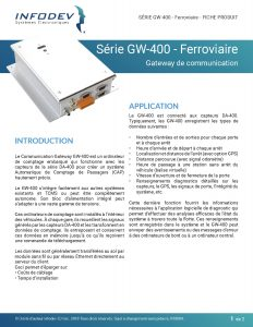 Infodev EDI Product Brief GW-400 Ferroviaire